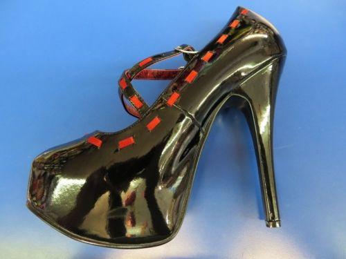 TEEZE 18 Bordello Heels シューズ 靴 ブラック シューズ コスプレ 仮装 Red Stiletto セクシー Pinup アクセサリー ハロウィン コスチューム コスプレ 衣装 変装 仮装, ミナミアマベグン:894936e4 --- officewill.xsrv.jp