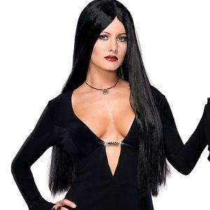 Morticia Addams ウィッグ Family ブラック 魔女 Deluxe 大人用 アクセサリー ハロウィン コスチューム コスプレ 衣装 変装 仮装