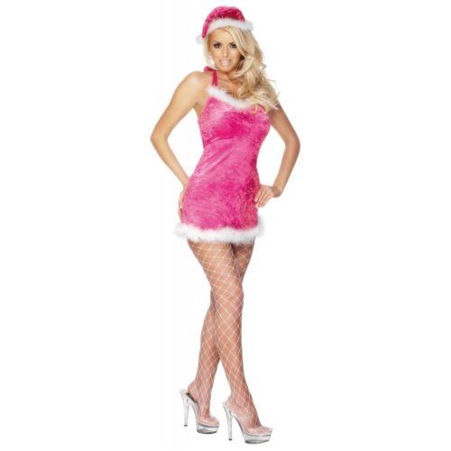 【全品P5倍】Pink サンタ セクシー Miss Ms サンタクロース Mini ドレス & Hat クリスマス ファンシー 大人用 クリスマス ハロウィン コスチューム コスプレ 衣装 変装 仮装