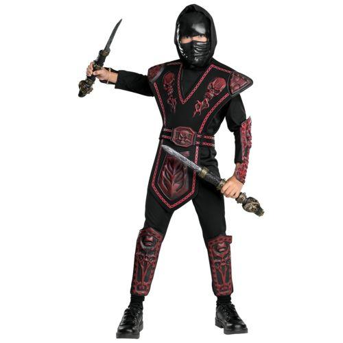 Red Skull Warrior Ninja キッズ 子供用 ブラック スーツ ハロウィン コスチューム コスプレ 衣装 変装 仮装