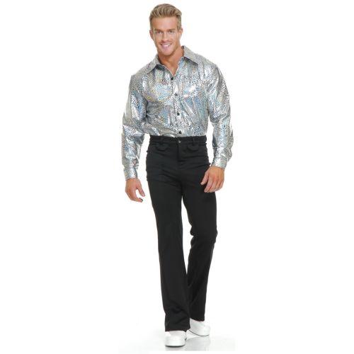 Silver Glitter ディスコ パーティ クラブ シャツ 大人用 クリスマス ハロウィン コスチューム コスプレ 衣装 変装 仮装