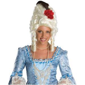 【全品P5倍】Marie AntoinetteWig with Red Rose 大人用 レディス 女性用 ホワイト Curly クリスマス ハロウィン コスチューム コスプレ 衣装 変装 仮装