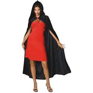 ブラック Velvet Hooded Cloak 大人用 Cape ハロウィン コスチューム コスプレ 衣装 変装 仮装
