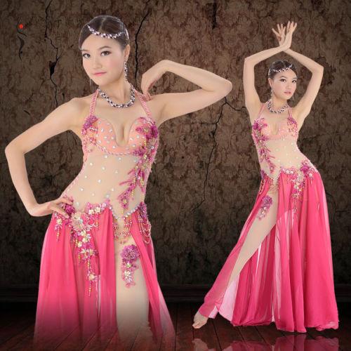 プロフェッショナル Performance ベリーダンス 衣装 Luxury Mesh one-piece ドレス Rose コスチューム ダンス 衣装 発表会