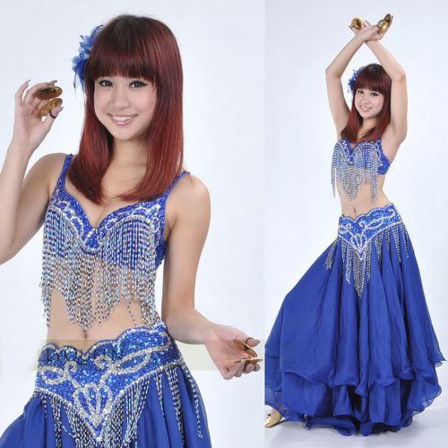 ベリーダンス 衣装 Outfit 2 セット ブラ&ベルト 32-34A/B/C Royal Blue コスチューム ダンス 衣装 発表会