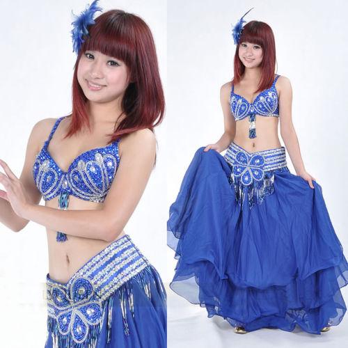 ベリーダンス 衣装 2 セット ブラ&ベルト 32-34A/B/C without スカート 4 カラー コスチューム ダンス 衣装 発表会