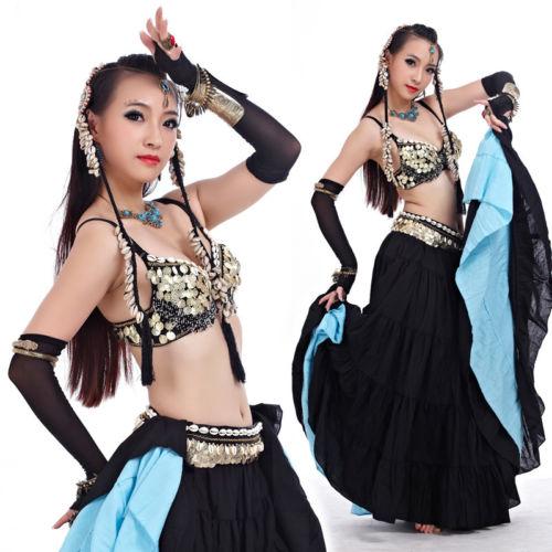トライバルスタイル ベリーダンス 衣装 Outfit 2 セット ブラ&ベルト 32-34A/B/C コスチューム ダンス 衣装 発表会
