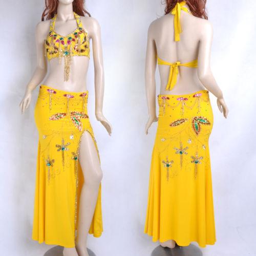 ベリーダンス 衣装 2 セット ブラ&スカート 32-34B/C 36B/C Yellow コスチューム ダンス 衣装 発表会
