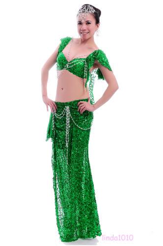 プロフェッショナル ベリーダンス 衣装 2 セット ブラ&スカート 34B/C 36B/C 38B/C 10 Color コスチューム ダンス 衣装 発表会
