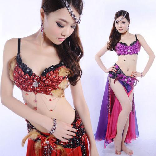 ベリーダンス 衣装 3 セット ブラ&ベルト&スカート 34B/C 36B/C 38B/C Red/Purple Color コスチューム ダンス 衣装 発表会