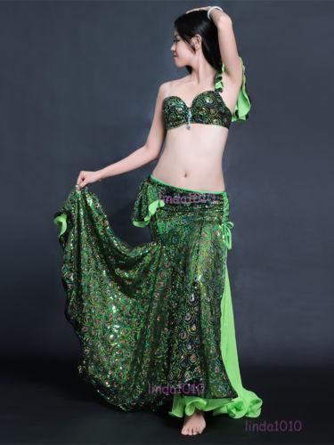 ベリーダンス 衣装 2 セット ブラ&スカート 34B/C 36B/C 38B/C Peacock Green Blue コスチューム ダンス 衣装 発表会