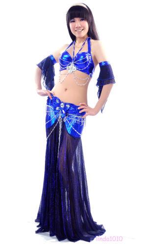 ベリーダンス 衣装 4 セット ブラ&スカート&2 アームバンド 34B/C 9 カラー コスチューム ダンス 衣装 発表会