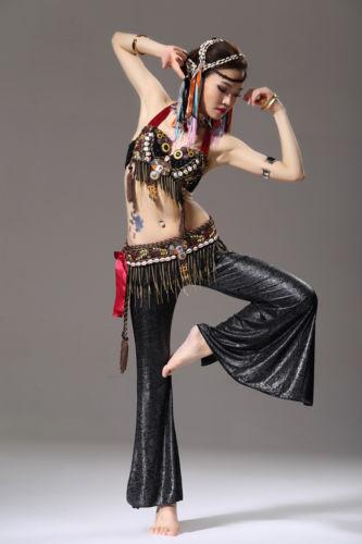 トライバルスタイル ベリーダンス 衣装 2 セット ブラ&ベルト 34B/C 36B/C 38B/C Black コスチューム ダンス 衣装 発表会