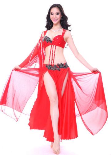 ベリーダンス 衣装 フルセット ブラ&スカート&アームバンド 34A/B 36A/B 38A/B 7 カラー コスチューム ダンス 衣装 発表会