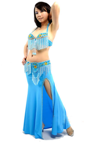 ベリーダンス 3 セット 衣装 36B/C ブラ&ベルト&スカート 11 カラー コスチューム ダンス 衣装 発表会