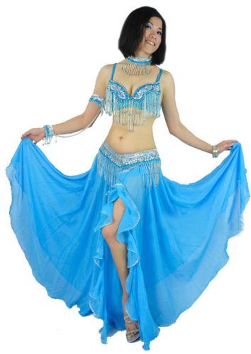 ベリーダンス 衣装 4セット ブラ&ベルト&アームバンド&ネックレス 34B/C 36B/C 38B/C 8 カラー コスチューム ダンス 衣装 発表会