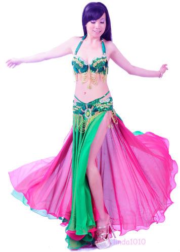 ベリーダンス 2 セット 衣装 ブラ&ベルト 38B/C 11 カラー コスチューム ダンス 衣装 発表会