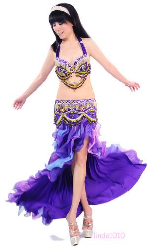 ベリーダンス 衣装 3 セット ブラ&ベルト&スカート 34B/C 36B/C 38B/C 6 カラー コスチューム ダンス 衣装 発表会