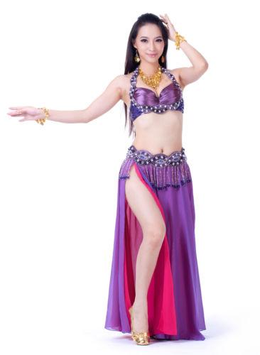 ベリーダンス 衣装 3 セット ブラ&ベルト&スカート 32B/C 34B/C 6 カラー コスチューム ダンス 衣装 発表会