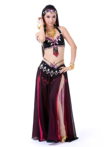 ベリーダンス 衣装 3 セット ブラ&ベルト&スカート 32B/C 34B/C Black Colour コスチューム ダンス 衣装 発表会