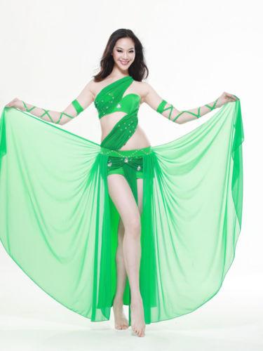 ベリーダンス 衣装 4 セット ブラ&スカート&Arm sleeve 34B/C 36B/C 38B/C 6 カラー コスチューム ダンス 衣装 発表会