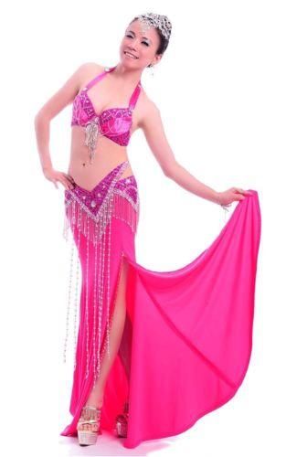プロフェッショナル ベリーダンス 衣装 2 セット ブラ&ベルト 34B/C 36B/C 10 カラー コスチューム ダンス 衣装 発表会