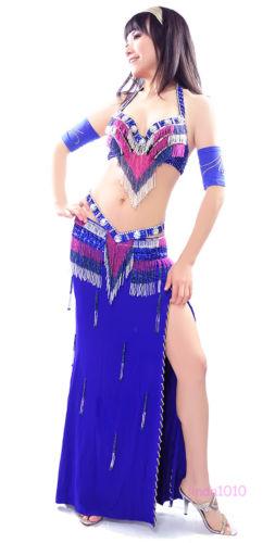 ベリーダンス 衣装 3 セット ブラ&ベルト&スカート 34B/C 36B/C 38B/C 10 カラー コスチューム ダンス 衣装 発表会