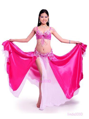 ベリーダンス 衣装 3 セット ブラ&ベルト&スカート 34B/C 36B/C 38B/C 8 カラー コスチューム ダンス 衣装 発表会