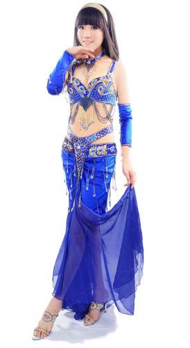ベリーダンス 衣装 5 セット ブラ&ベルト&スカート&アームバンド&ネックレス 36B/C 38B/C 11 Color コスチューム ダンス 衣装 発表会