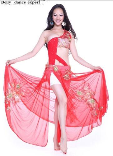 Profession ベリーダンス 衣装 2 セット ブラ&スカート 32-34A/B 36A/B 38A/B 5 Color コスチューム ダンス 衣装 発表会