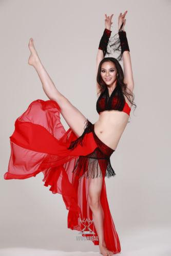 ベリーダンス 衣装 4 セット ブラ&スカート&アームバンド 32-34B/C 36B/C 38B/C 6 カラー コスチューム ダンス 衣装 発表会