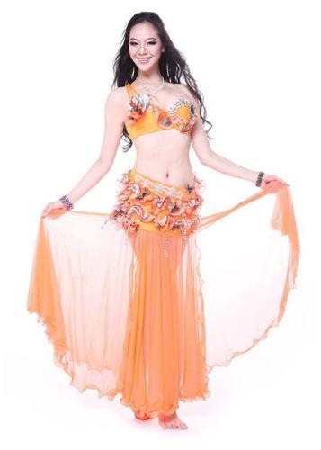 プロフェッショナル ベリーダンス 衣装 2 セット ブラ&スカート 34B/C 36B/C 38B/C 5 カラー コスチューム ダンス 衣装 発表会