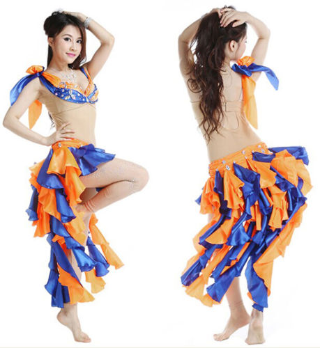 ベリーダンス 衣装 3 セット Siamese ブラ&スカート&パンツ 34B/C 36B/C 38B/C 7 Color コスチューム ダンス 衣装 発表会