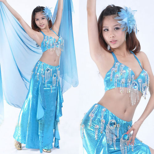 ベリーダンス 衣装 Diamond 2 セット フルセット ブラ & スカート 32-34B/C 7 カラー コスチューム ダンス 衣装 発表会