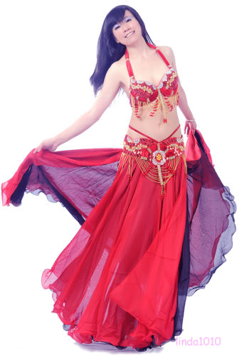 Profession ベリーダンス 衣装 3 セット ブラ&ベルト&スカート 34B/C 36B/C 38B/C 11 カラー コスチューム ダンス 衣装 発表会
