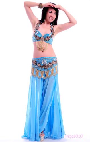 Performance ベリーダンス 衣装 3 セット ブラ&ベルト&スカート 34B/C 36B/C 38B/C 8 カラー コスチューム ダンス 衣装 発表会