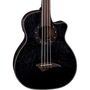【マラソン全品P5倍】ディーン Dean Exotica Quilt Fretless Acoustic-Electric Bass Transparent Black LN