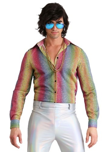 【ポイント最大29倍●お買い物マラソン限定!エントリー】Men's Rainbow Sparkle ディスコ Shirt ハロウィン メンズ コスプレ 衣装 男性 仮装 男性用 イベント パーティ ハロウィーン 学芸会