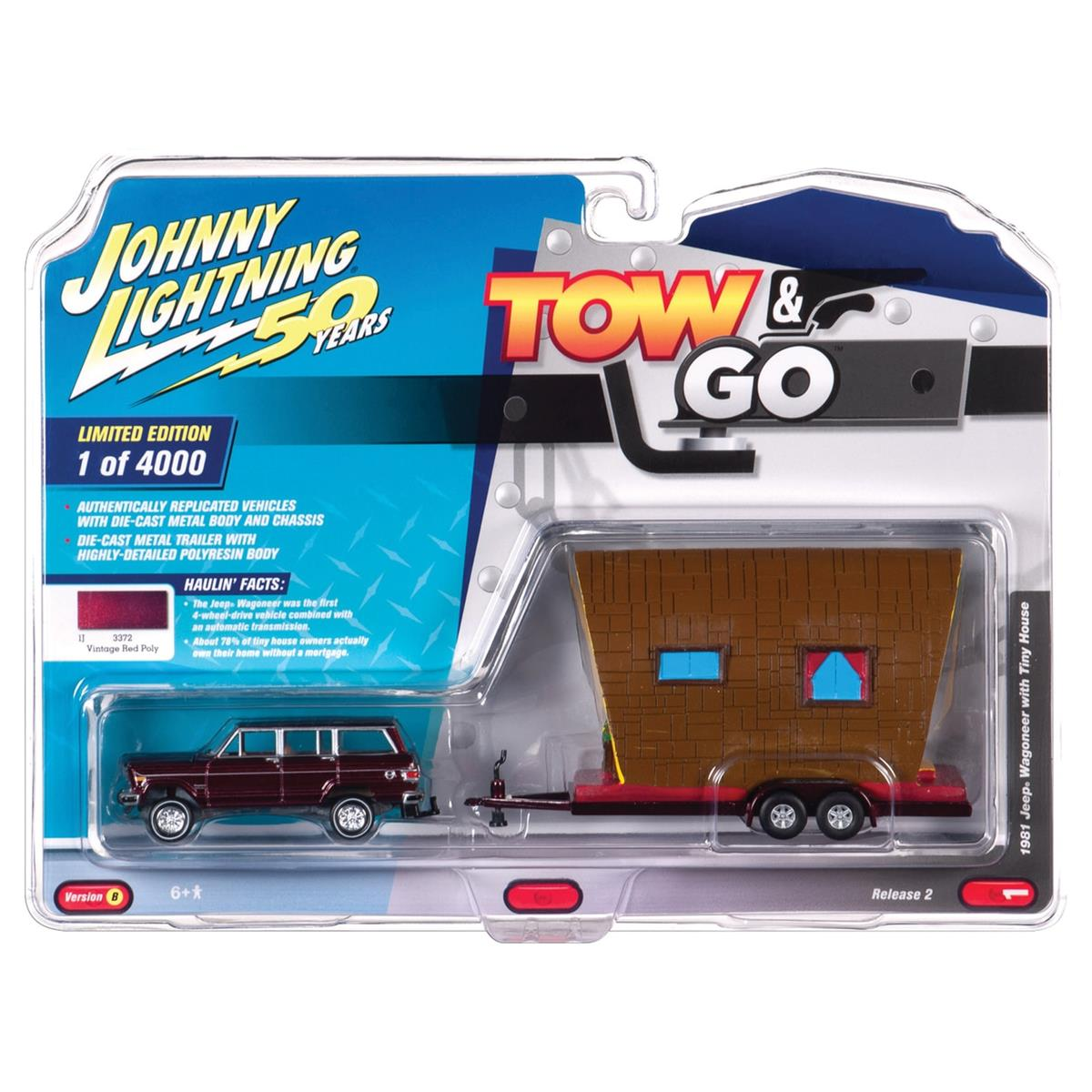 Johnny Lightning ジョニーライトニング 1981 Jeep ジープ Wagoneer w/Tiny House 1/64 Scale スケール Diecast Model ダイキャスト ミニカー おもちゃ 玩具 コレクション ミニチュア ...
