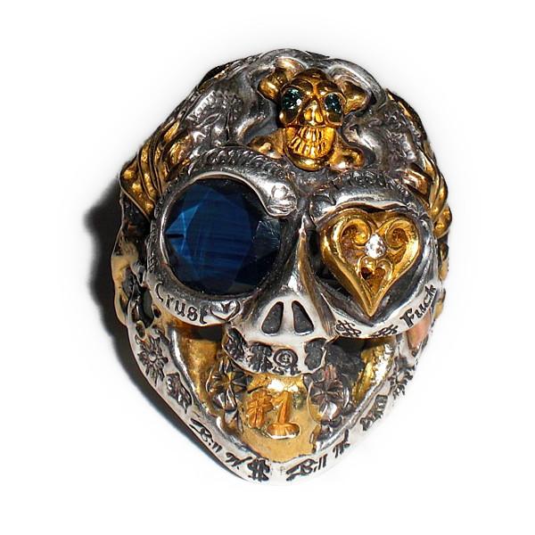 正規品 ビルウォールレザー BILL WALL LEATHER ビルウォール BWLスーパーカスタム グラフィティ マスタースカル リング 指輪 NOMAD REAL BLUE SAPPHIRE