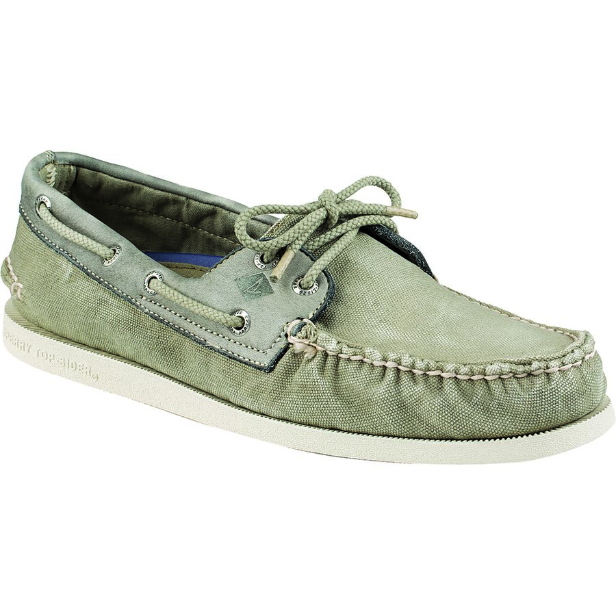 Sperry Top-Sider A O 2-Eye Wedge Canvas Shoe - Men's Olive アウトドア メンズ 男性用 靴 シューズ ブーツ Boots & Shoes