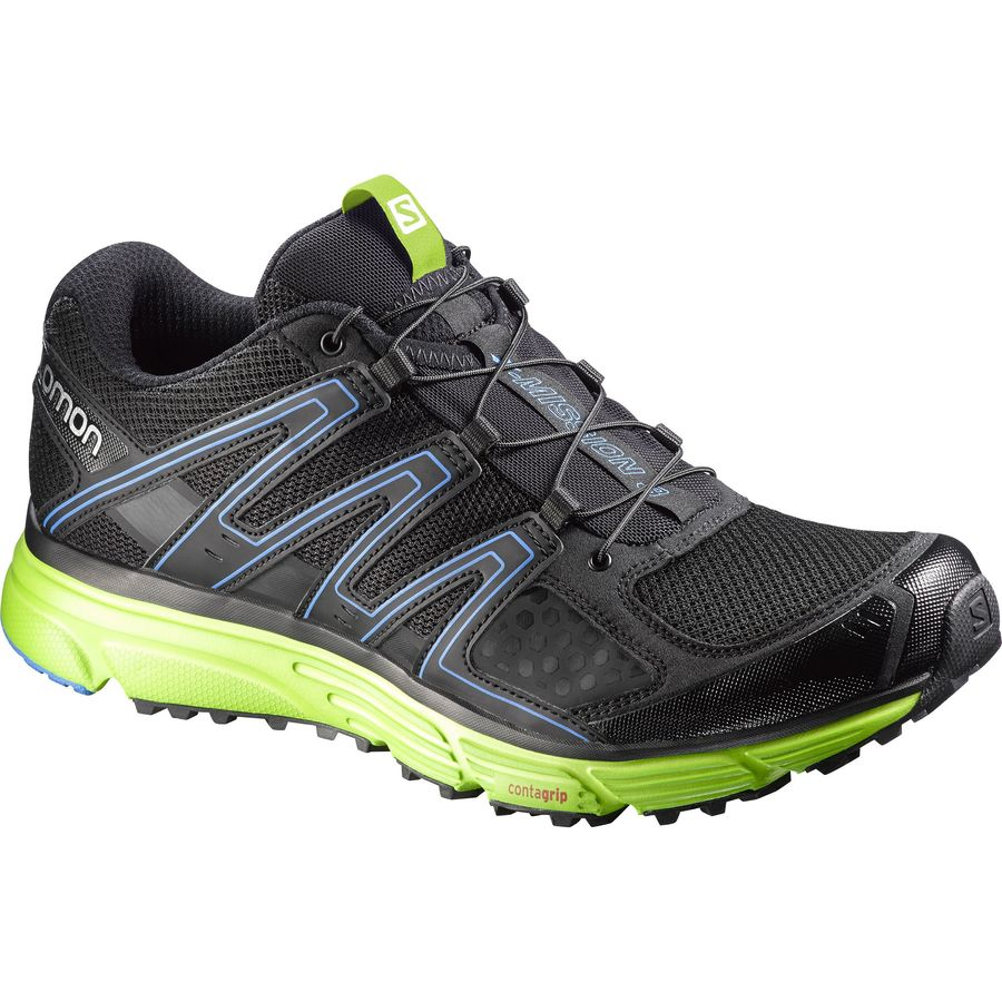 Salomon X-Mission 3 Trail Running Shoe - Men's Black Granny Green Bright Blue アウトドア メンズ 男性用 靴 ランニングシューズ Running Shoes