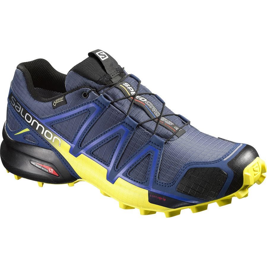 Salomon Speedcross 4 GTX Trail Running Shoe - Men's Slateblue Blue Depth Corona Yellow アウトドア メンズ 男性用 靴 ランニングシューズ Running Shoes