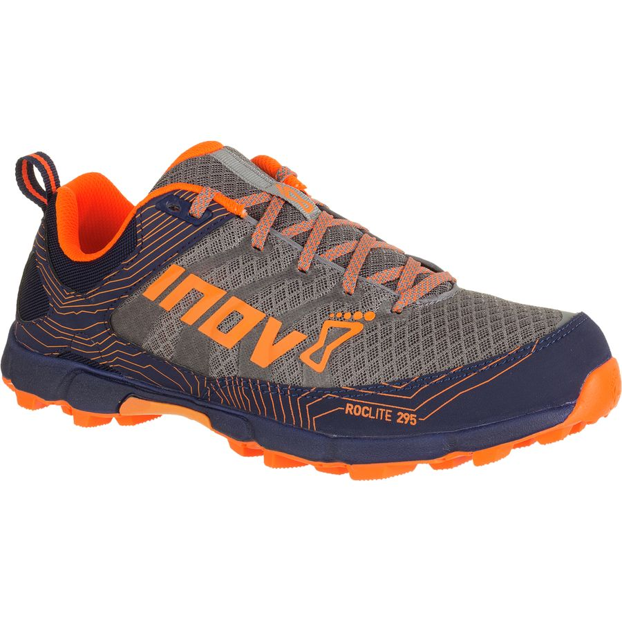 Inov 8 Roclite 295 Standard Fit Running Shoe - Men's Grey Orange Blue アウトドア メンズ 男性用 靴 ランニングシューズ Running Shoes