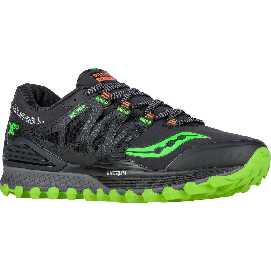 Saucony Xodus Iso Runshield Trail Running Shoe - Men's Black Slime Vizipro Orange アウトドア メンズ 男性用 靴 ランニングシューズ Running Shoes