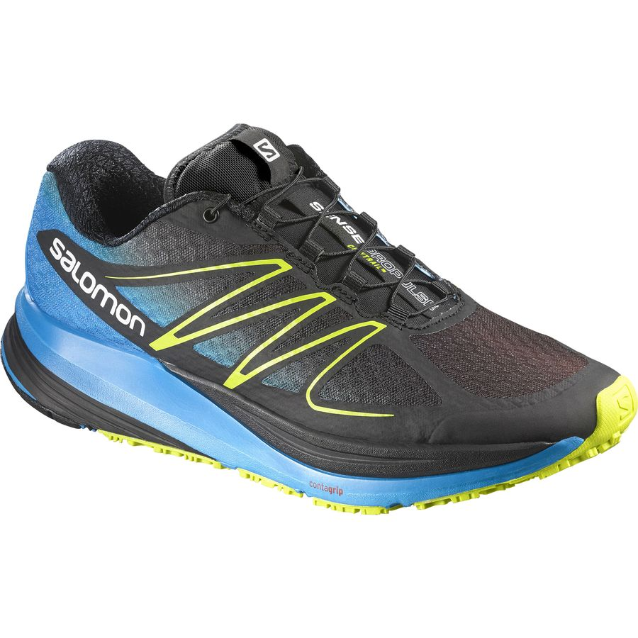 Salomon Sense Propulse Running Shoe - Men's Black Methyl Blue Gecko Green アウトドア メンズ 男性用 靴 ランニングシューズ Running Shoes