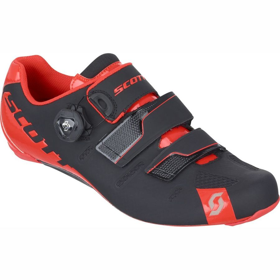 Scott Road Premium Shoes - Men's Black Neon Red Gloss アウトドア メンズ 男性用 靴 バイクシューズ Bike Shoes