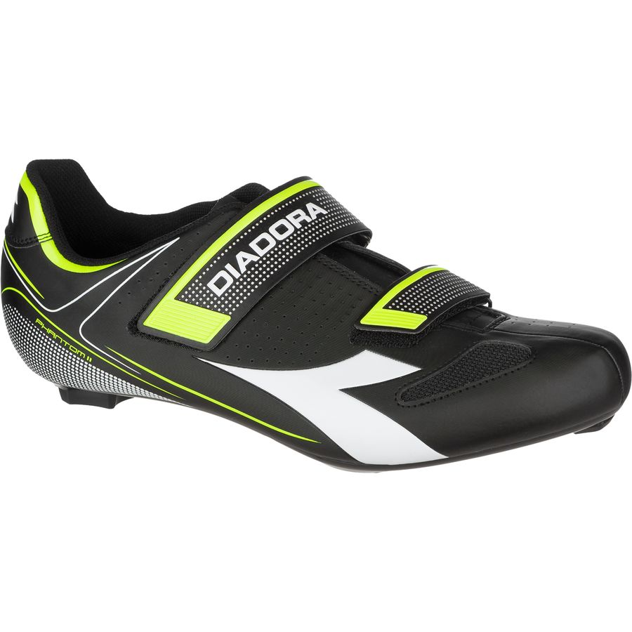 Diadora Phantom II Shoes - Men's Black White Yellow Fluo アウトドア メンズ 男性用 靴 バイクシューズ Bike Shoes