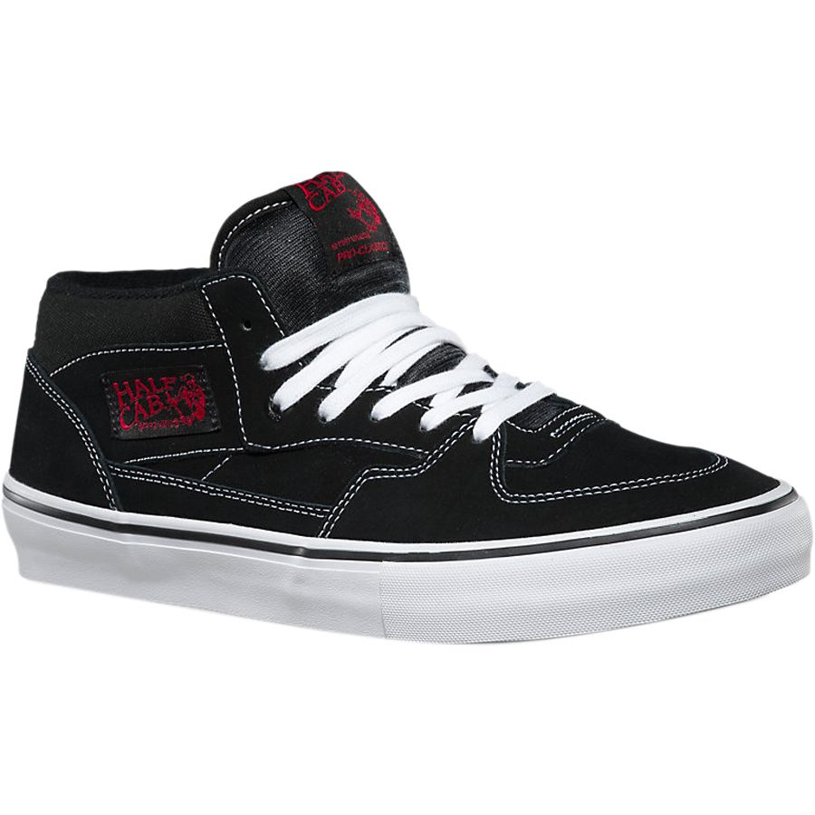 Vans Half Cab Pro Skate Shoe - Men's Black White Red アウトドア メンズ 男性用 靴 スケートシューズ Skate Shoes