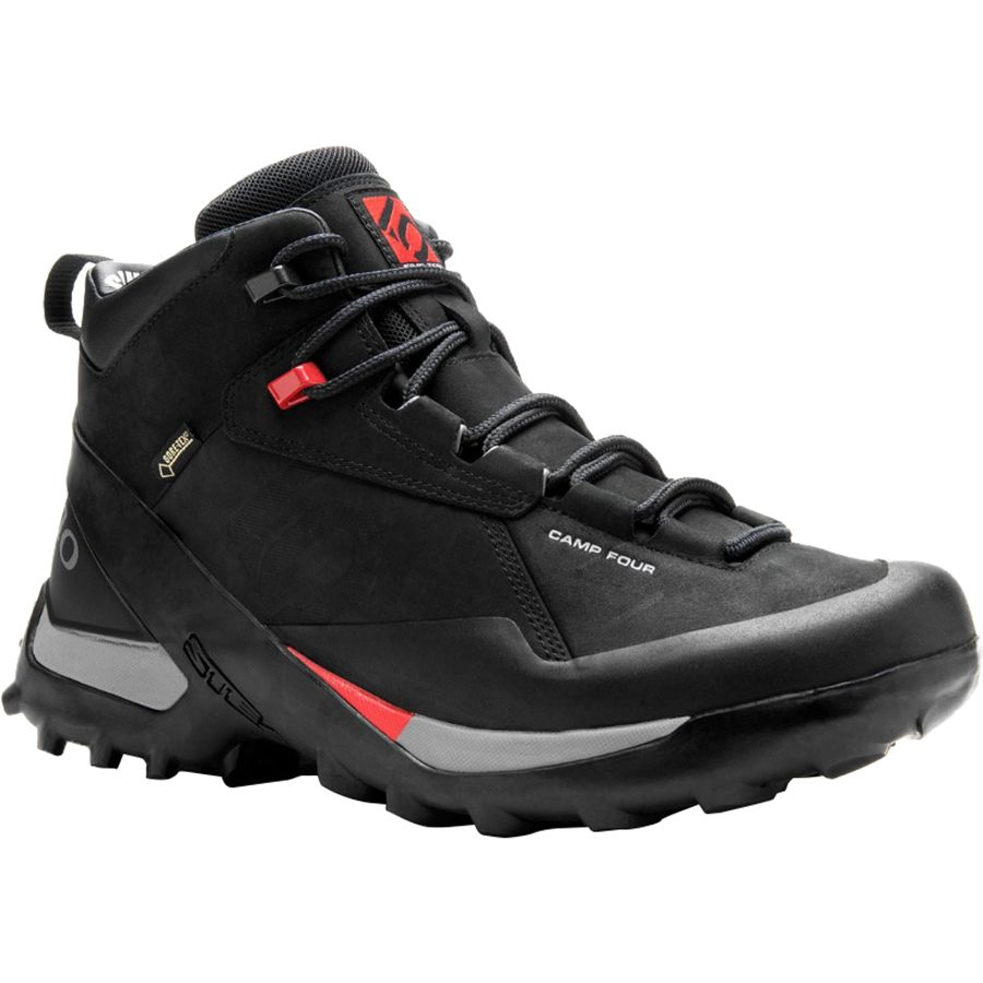 Five Ten Camp Four Mid Leather GTX Shoe - Men's Black Red アウトドア メンズ 男性用 靴 アプローチシューズ Approach Shoes